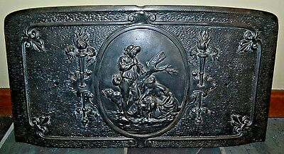 Antique Rare 1800's Curved Cast Iron French Fireback With Bucolic Farm Scene