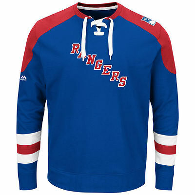 NHL Sweater NEW YORK NY RANGERS blau Centre Pullover Crewneck Lace-Up Sweatshirt
