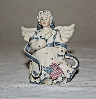"""Sarah's Angels Cast Resin Angel with American Flag 3"""""""