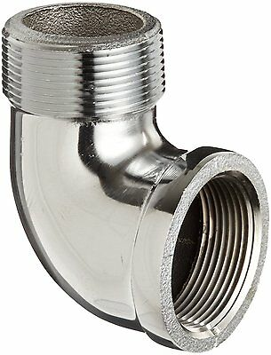 """Chrome Plated Brass Pipe Fitting, 90 Degree Street Elbow, 1/2"""" NPT Male x Female"""