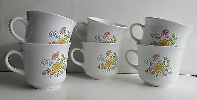 Corelle Corning Spring Meadow Set Of 6 Cups Coffee Tea Vintage Floral