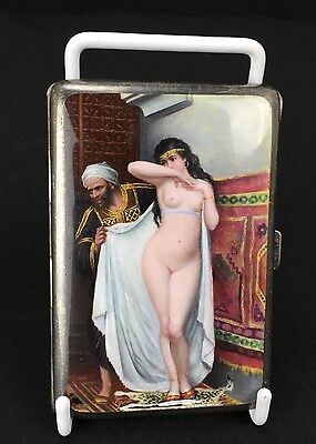 Beautiful Antique German Sterling Silver Nude Arab Woman Cigarette Case