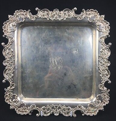 Gorgeous Antique Whiting Sterling Silver Square Tray With Fine Elegant Designs