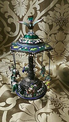Magnificent Antique Asian Silver Enamel swings With Elephants,
