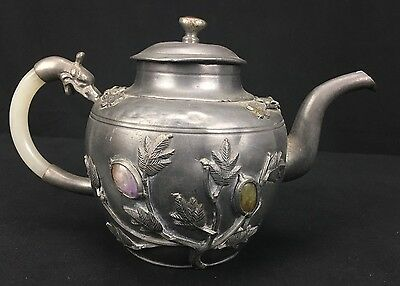 Rare Antique Chinese Silver Pewter Teapot With Fine Stones & Jade Handle