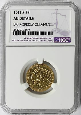 1911-S Gold Indian $5 NGC AU Details