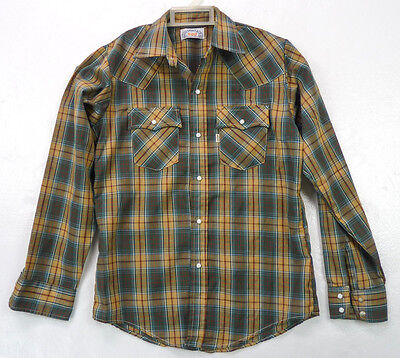 Vintage 80s LEVIS Green Plaid Western Shirt Pearl Snap Buttons Youth 18 XL