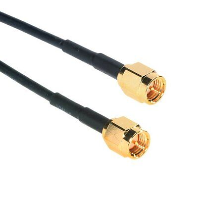 Amphenol CO-174SMAX200-001 Black RG174 SMA Coaxial Cable, 50 Ohm, SMA Male to 1