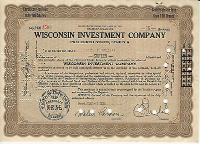 1930 WISCONSIN INVESTMENT COMPANY Stock Certificate C G Welch DELAWARE Milwaukee