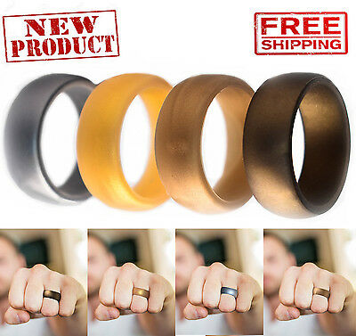 Men Silicone Wedding Ring 4 Pack Affordable Bands Gold Silver Copper Bronze NEW