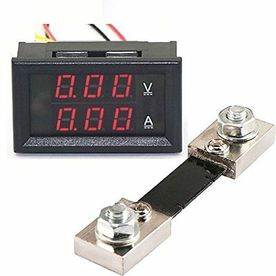 "GEREE Red & Red DC 0-100V/0-100A 0.28"" LED Dual Display Digital Voltage Current"