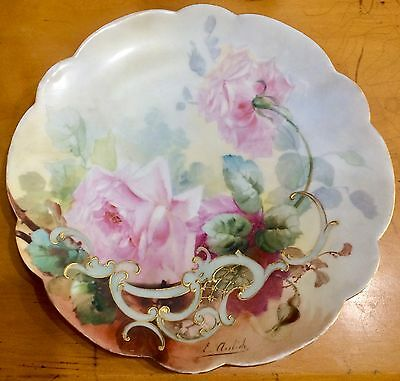 Emil Aulich Painted Porcelain Roses Plate w Raised Decoration, c 1900, French
