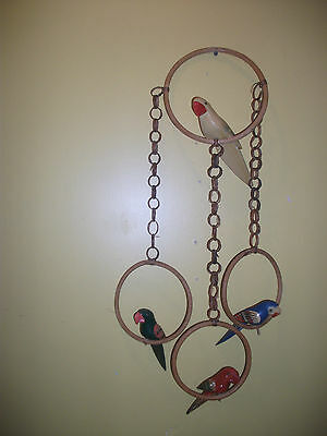 Vintage Handpainted WOOD  4 HANGING PARROTS on  Perch ~Hanging Decor