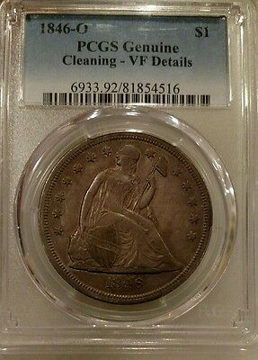 1846-O Seated Liberty Dollar PCGS VF Details Silver $1 Good Date