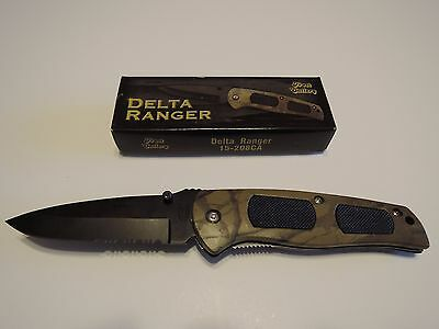 "Delta Ranger Knife 4 3/4"" Closed Camo Handle Black Stainless Steel Blade"