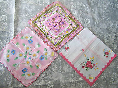 3 pcs ladies' handkerchief, handkerchiefs, hanky; pink; wedding, crafts Lot #3