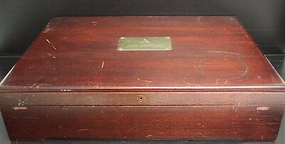 "Vintage Wooden Mahogany Pacific Silver Chest - Silverware Box, 17"" x 12"" x 4"""