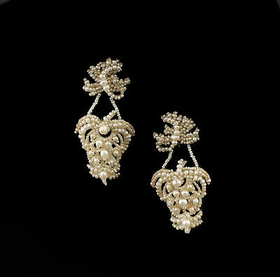 14k Yellow Gold Natural Seed Pearl Screw Back Earrings 19th Century, 5.7grams