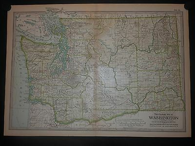 Washington 1897 Map Indian Reservations Vancouver Island Rivers Lakes