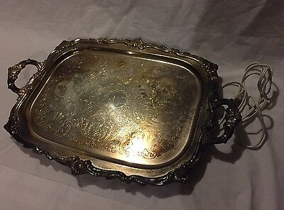Antique,Eton Guarantee Silverplate,Silver Serving Platter with Warmer W/Cord.