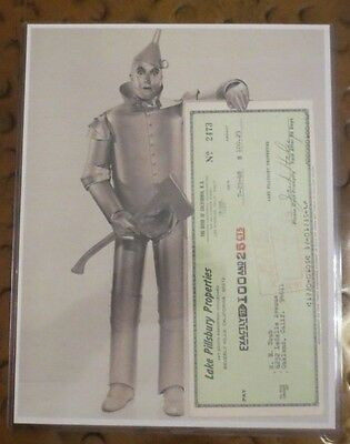 Jack Haley Wizard of Oz Tin Man signed autographed original check in display