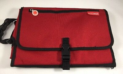 Skip Hop Pronto Changing Station Diaper Clutch Baby Bag Red Gray