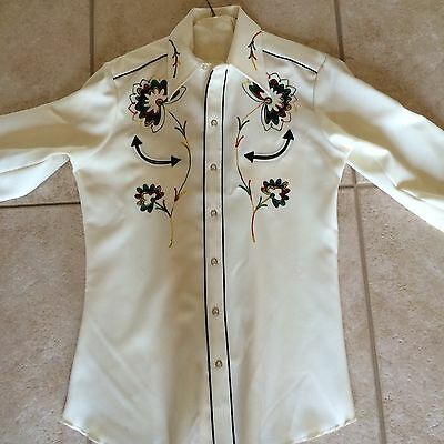 Vintage Men's H Bar C Embroidered Long Tail Western Shirt Size 15 1/2 NEW