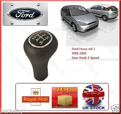 Ford Focus Mk1 98-05 Gear Shift Knob 5 Speed Black Leather Stick Cover