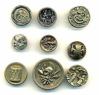 Lot of 9 Antique Metal Picture Buttons