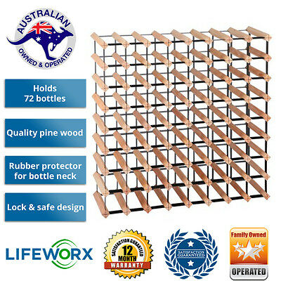 New 72 Bottle Timber Wine Rack Wooden Complete Bottles System Storage Solution