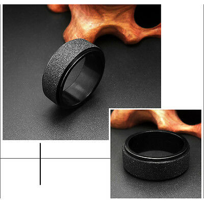 8mm Black Men's titanium Steel Frosted Spin Ring Wedding Band Jewelry