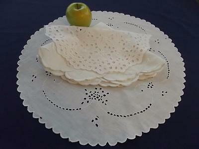 3 Antique White Linen Lovely Centerpiece Fancy Chic Doilies Embroidery Cutwork