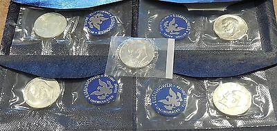 Lot of 5  * Blue 40% SILVER IKE Eisenhower Dollars * UNC 1971 to 1974 S + 1976 S