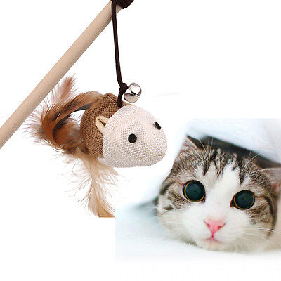 Fun Play Toy Cat Teaser Pet Play Length Interactive Toy Wand Mouse Ball Feather