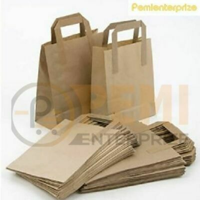50 Small Brown Kraft Craft Paper Sos Carrier Bags Lunch Dinner Take Away