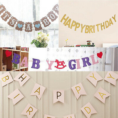 Happy Birthday Cake Hanging Bunting Banner Flag Baby Shower Party Table Decor