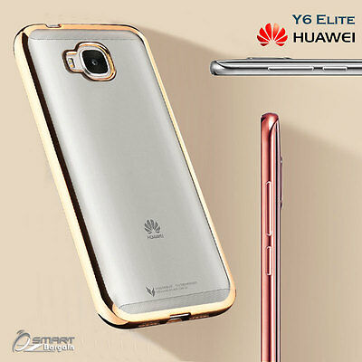 Chrome Soft TPU Jelly Gel Fancy Case Cover For For Huawei Y6 Elite 4G