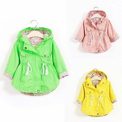 Toddler Baby Girls Warm Autumn Hoodies Coats Kids Jacket Zip&Button Clothes 2-7T