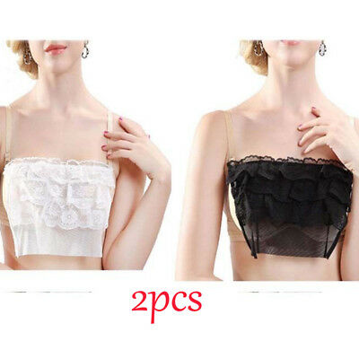 2 Pack Quick Easy Lace Cami Clip On Mock Bra Panel Overlay Modesty Camisoles