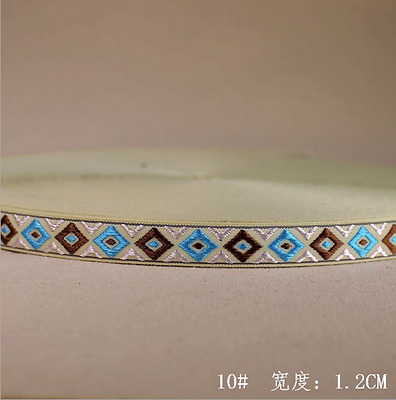 10 Yards Vintage Embroidered Diamond lattice lace ribbon Trim accesories 12mm
