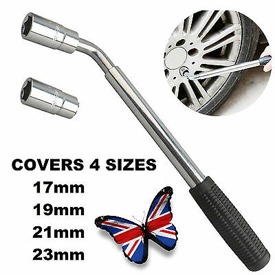 17 19 21 23mm HEAVY DUTY Extendable Wheel Car Van Brace Socket Tyre Nut Wrench