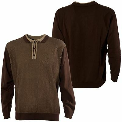 Gabicci Vintage Mens Brown Knitted Polo Shirt Contrasting Design Top Size S-3XL