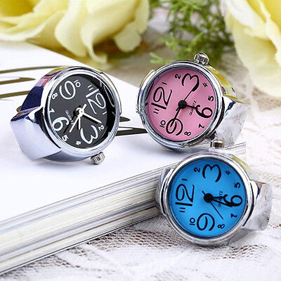 Trendy Womens Girls Fancy Exclusive Steel Round Elastic Quartz Finger Ring Watch