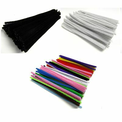 "Pipe Cleaners Chenille Craft Stems 12""(30cm) 6""(15cm) Assorted White Black"