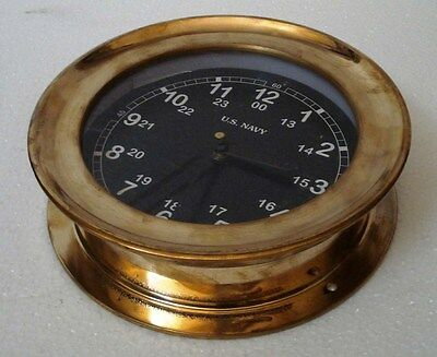 U.S. Navy BRASS Marine Wall Clock - LARGE & Very Nice - Black Dial