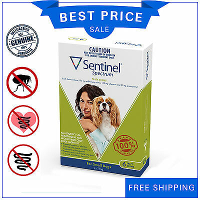SENTINEL Spectrum Flea Heartworm control for Dog 4 to 11 Kg GREEN Pack 6 Chews