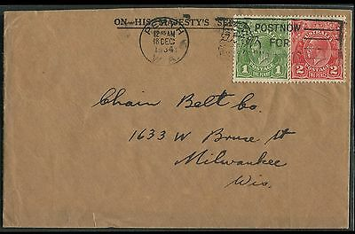 Australia 1934 cover to USA with KGV Heads 1d green & 2d red