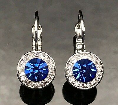 SAPPHIRE ROYAL BLUE Earrings Gold Silver Antique Grey Wedding Formal Long Circle
