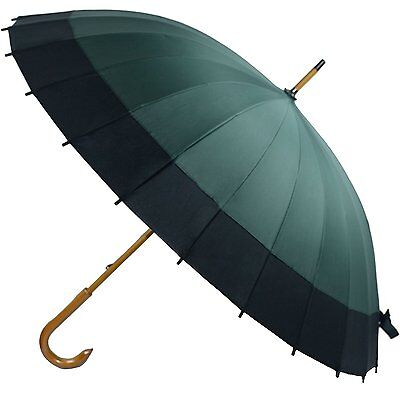 Kung Fu Smith Vintage Large Japanese Windproof Wooden Rain Umbrella, Dark Green