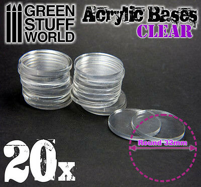 20x Acrylic Bases - Round 32mm CLEAR - Thickness 3mm Basing Wargames Miniatures